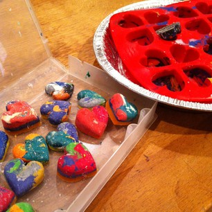 making heart shape crayons by melting in a hot car